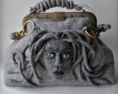 MEDUSA Bag , Gladstone, Satchel, Doctors Bag, ON Sale 20% OFF, Felted, Medusa Head, Gift Ideas, Antique Bronze Hardware,2015