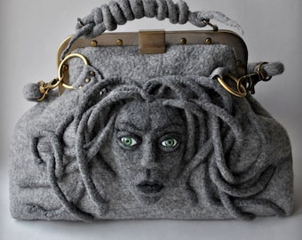 MEDUSA Bag , Gladstone, Satchel, Doctors Bag, FREE Shipping, Felted, Medusa Head, Gift Ideas, Antique Bronze Hardware,2015