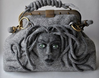 Bag, Felt Bag, MEDUSA Bag, Doctors Bag, Felted Bag, Designer Bag, Art Medusa Bag, Mary Poppins Bag,TianaCHE