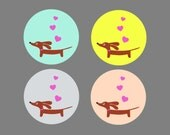 Dachshund Stickers - Set of 48 - Love a Doxie Stickers in Vibrant Tones