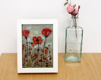 Red Poppies  landscape Painting, 12x6  Fused Glass Painting, 3d painting on glass, Wall or Table Art,