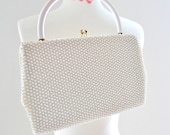 Vintage 60s Beaded Clutch Handbag.Off White Bag Purse Small Tote for a Summer Event Party Wedding or Stroll. Corde-Bead