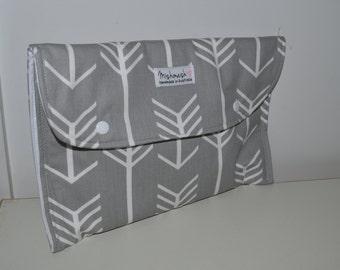 Nappy Wallet/Clutch - Grey Arrows Modern Design Nappy Wallet