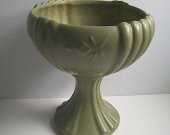 Mid Century Matte Green Pedestal Planter Bowl USA