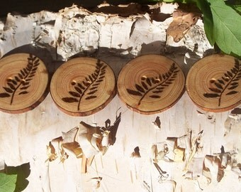 Wood Burned Leaf Buttons-Reclaimed Wood Buttons-Tree Slice Buttons