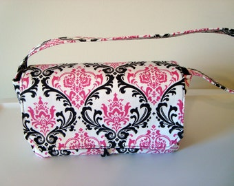 Medium Coupon Organizer /Budget Organizer Holder- Madison Black/Candy Pink Damask Fabric