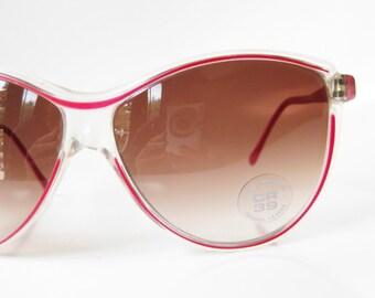 SALE Crimson Red Sunglasses Vintage Italian Sunnies Italy Womens Ladies European Authentic Retro Deadstock NOS New Old Stock Bright Sunwear