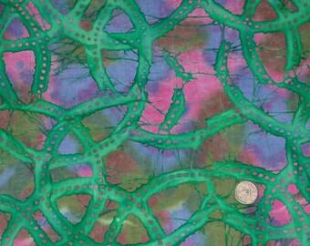 Green Circles Batik Fabric