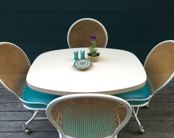 ON HOLD. Wheelin' & Tealin' - Unique Retro Dinette Set - Table + Four Chairs - Teal Blue Seat Cushions - Woven Rattan / Wicker Backrests