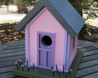 Pink and Purple Cottage Birdhouse with Pink Flowers