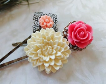 Set of 3 Lovely White Chocolate, Watermelon And Peach Pastel Floral Hair Clips