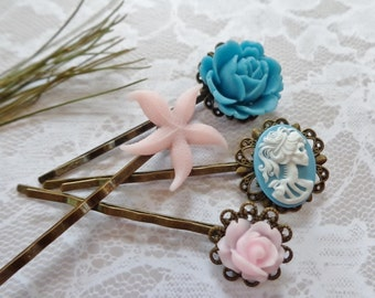 Set of 4, Pink Passion Hair Clips