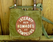 Vintage Canvas Army Bag Satchel - Hand Painted ...And The Sign Said