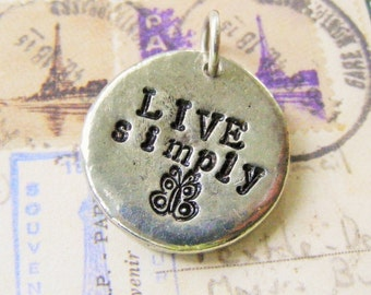 Stamped Jewelry, Hand Stamped Pendant,  Live Simply Pendant, Silver Butterfly, Black Leather Choker, Butterfly Stamp, Inspirational Necklace