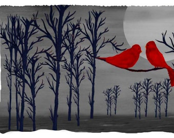 Red Birds in the moonlight at dusk Beach or Hand Towel from my art