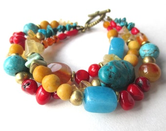 Triple strand gemstone boho bracelet, rustic luxe tribal jewelry with blue turquoise, red coral and yellow citrine