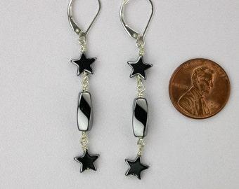 Dangly Hematite Stars Earrings