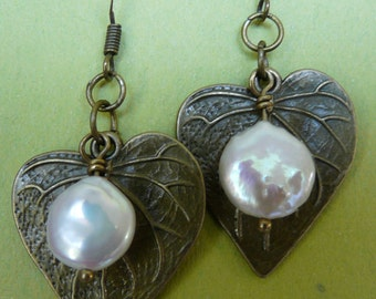 Antique brass and coin pearl earrings