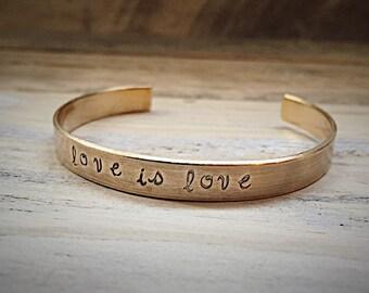 Love Is Love Brass Message Cuff