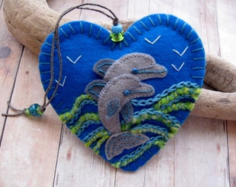 Leaping Dolphins Ornament - Made to Order Embroidered Fiber Art