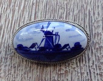 Vintage Delft Brooch Pin Blue Porcelain Windmill and Silver 835 Vintage Porcelain Delftware Delft Jewelry