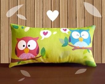 Decorative Pillow -RainbOWL- Green/Pink