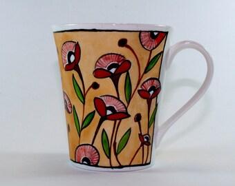 Red Poppies on Gold Coffee Mug, Ceramic Mug, Pottery, SKU156-05