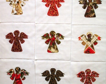Quilt Blocks Appliqued Christmas Angels