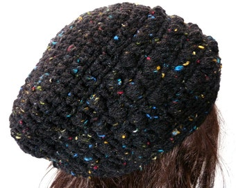 Crochet Slouchy Hat in Black with Flecks, For Women and Teens, Beret, Tam, Rasta, Beanie