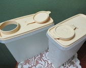 Tupperware Cereal Keepers 2 with Beige Lids