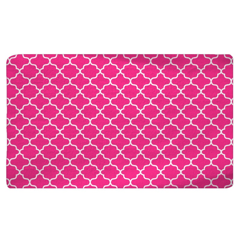 Hot Pink Quatrefoil Soft Fuzzy Area Rug Size 48x30 By