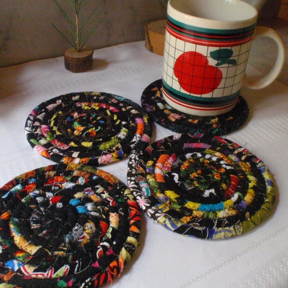 Black Bohemian Coiled Fabric Coasters Set of 4 Handmade by