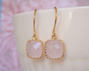 Blush Pink Earrings, Petite Earrings, Gold Earrings, Simple, Everyday Jewelry