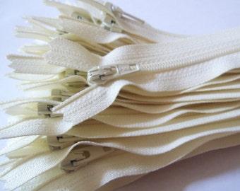Vanilla YKK zippers 10 pcs, choose size 4, 5, 6, 7, 8, 9, 10, 12, 14, 16, 18, 20 inches, all purpose dress zips, ivory YKK color 121