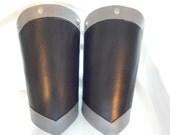 Leather armor bracers gauntlets steel look