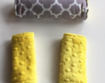 Strap and Arm Pad Covers // Gray Quatrafoil and Yellow Minky //  OR Choose Your Own Minky Colors // Baby Car Accessory