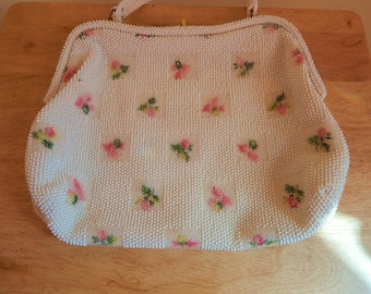 Vintage 1950s Purse, Lumared Petite Bead, made in USA .in perfect condition for rockabilly or pin up girls