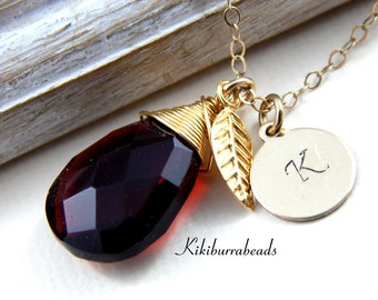 Personalized Necklace - Red Quartz Personalized Gold Filled Necklace