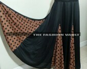 Lovely Polka Dot Flamenco style belly dance maxi skirt black brown Final sale