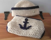 Sailor Hat and Anchor Diaper Cover Set - Baby Boy 0-3 months - ready to ship