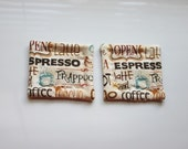beige and blue coffee refrigerator magnets set of 2