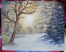 Bob Ross Style Alaska Wilderness Landscape Forest Evergreen Trees in the Woods Snowy Winter Oil Painting, 16 x 20 Oil on Canvas Board