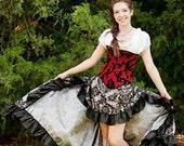 Steampunk Skirt, Silver and Black Flocked, Steampunk, Renaissiance, Pirate, Ruffle Skirt, Hi-Low
