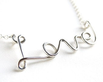 Love Necklace. Sterling Silver Big Love Necklace.