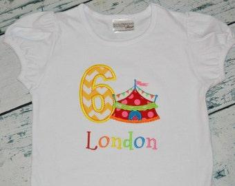 PERSONALIZED Girls Carnival Birthday Ruffle Shirt  Monogrammed 1, 2, 3, 4, 5, Circus Birthday