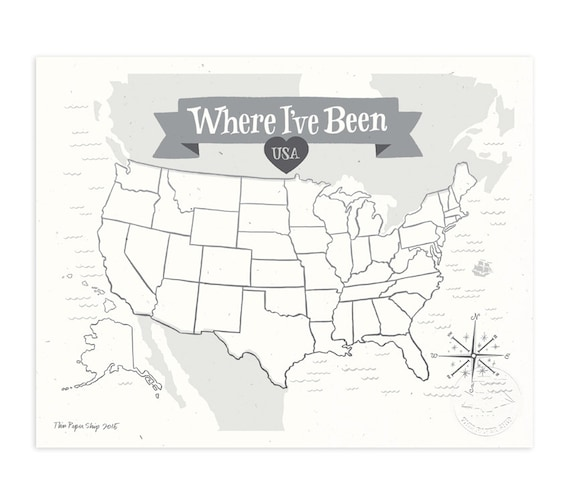 Where I've Been: USA Map, Stone Gray Illustrated Art Print
