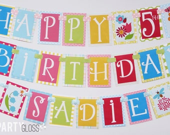 Floral Garden Party Birthday Party Banner Decorations Fully Assembled
