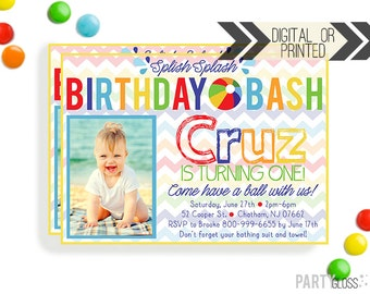 Beach Ball Invitation | Beach Ball Invites | Digital or Printed | Beach Ball Party | Beach Ball Printables | Pool Party Decorations
