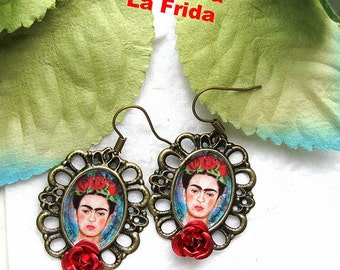 Frida Kahlo earrings mexico folk altere art day of the dead dia de los muertos whimsical red roses