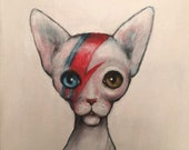 CAT INSANE David Bowie Alladin Sane spin off with Sphynx Cat PRINT by Nina Friday